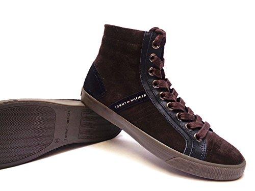 Tommy Hilfiger sneakers alte da uomo in camoscio Marrone/Blu, n. 43