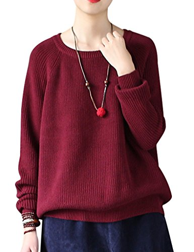 Pull Col Chandail Court Youlee Rond Bourgogne Femmes xZXqvIwE