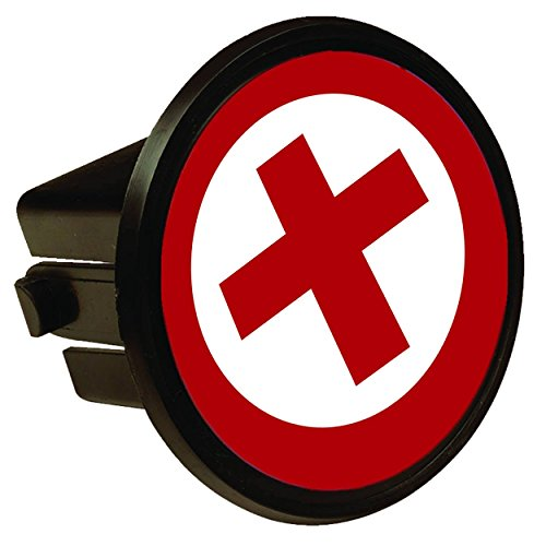Red Cross Circle Round Hitch Cover Hitch Plug