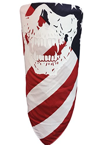 Red, White and Blue American Flag With White Vampire Fangs Jawbone Skull Print Adjustable Reversible Motorcycle Rider Face Scarf Bandana Cover Wind Dust Protection For Patriotic Veteran Biker - Vampire Flag