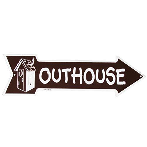 TG,LLC Metal Outhouse Sign Bathroom Arrow Funny Restaurant Pub or Bar Wall Decor ()
