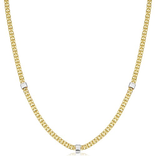 (Kooljewelry 14k Yellow and White Gold Bismark and Cube Station Necklace (18 inch))