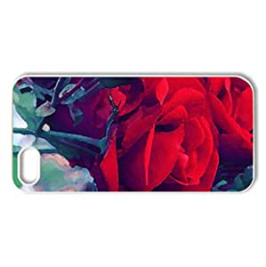 Happily - Case Cover for iPhone 5 and 5S (Flowers Series, Watercolor style, White)