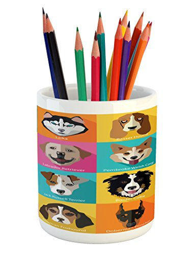 Original Dog Pop Art - Lunarable Animals Pencil Pen Holder, Pattern with Dogs in Retro Pop Art Style Bulldog Hound Cartoon Animals Design, Ceramic Pencil Pen Holder for Desk Office Accessory, 3.6