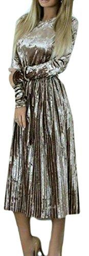 Dress Long Brown Womens Long Velvet Sleeve Cruiize Basic Slim Pleated qzw8tx