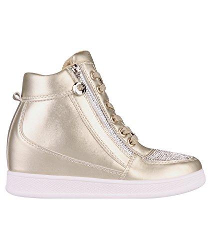 KRISP Bling Toe Wedge Trainers (Gold, 7),[5800-GLD-5] (Wedge Women Sneaker)