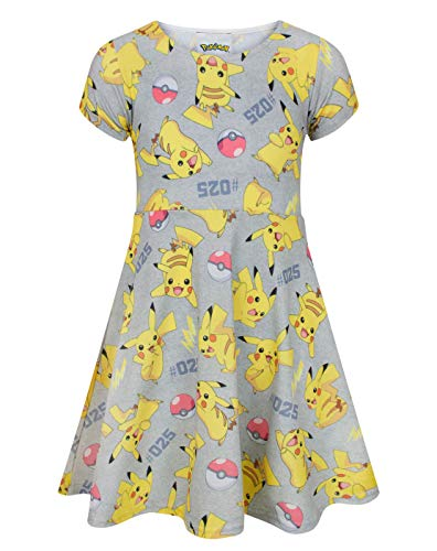 Pokemon Childrens Girls Pikachu Short Sleeved Dress (11-12 Years) (Multicolored) -