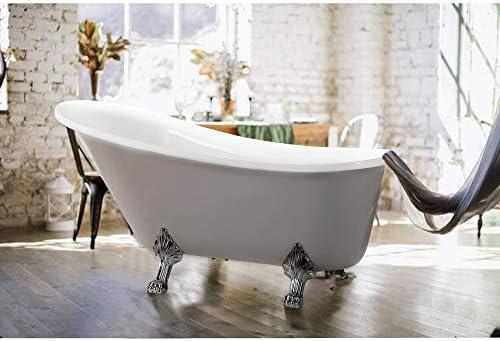 Vanity Art Freestanding White Acrylic Bathtub Modern Stand Alone Soaking Bathtub with Polished Chrome, UPC Certified, Pop-up Drain – VA6310-L