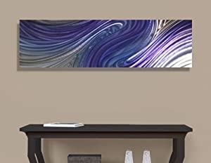 abstract metal wall art. Contemporary Abstract Metal Wall Art Home Decor - Purple And Silver Accent Long, Rectangular Painting Supernatural By Jon Allen W