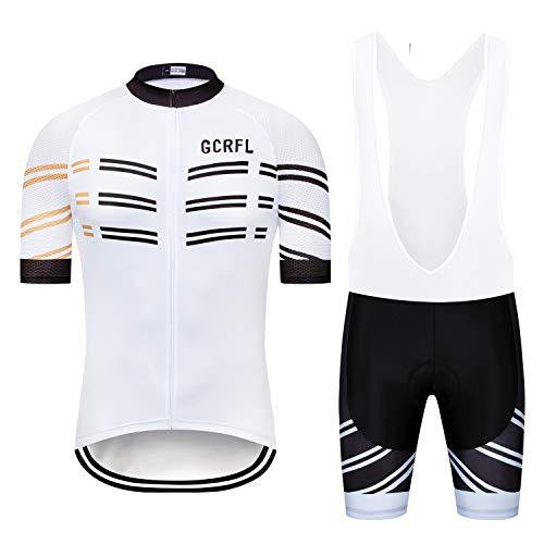(GCRFL Men's Short Sleeves Cycling Jersey Set Road Bike Jersye Cycling Shirt + Bib Shorts with 3D Gel Padded (White&Black, Chest 36-38