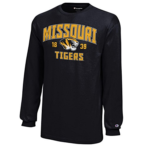 Champion NCAA Missouri Tigers Youth Boys Long sleeve Jersey T-Shirt, X-Large, Black (Tigers Missouri Jersey)