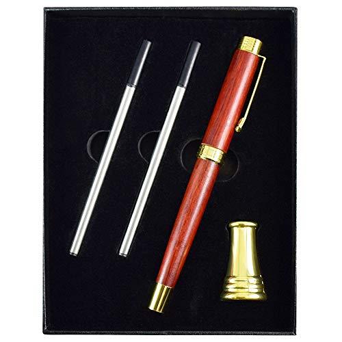 Relaxmate Rosewood Wooden Ballpoint Pen Writing Set - Nice Fancy Gift Pens for Journaling - Golden Pen Holder & 2 Black Refills