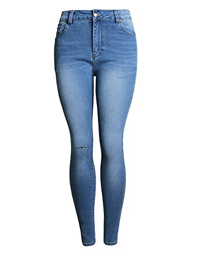 Matita Skinny Elastico Denim Lunghi Jeans Midblu Pantaloni Leggings Donna qwRB77