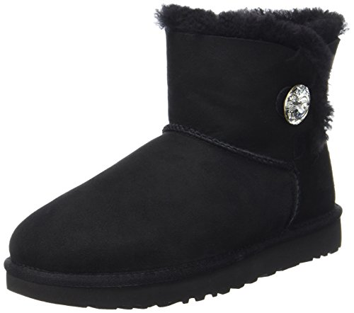 UGG Women's Mini Bailey Button Bling Winter Boot, Black, 10 B ()