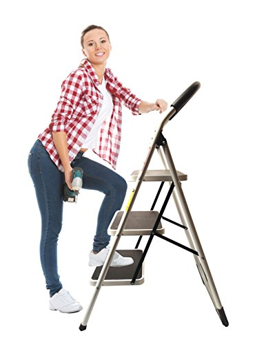 LavoHome 330lbs Upper Reach Reinforced Metal Folding Step-Ladder Stool Household (Portable Steel Office Ladder)