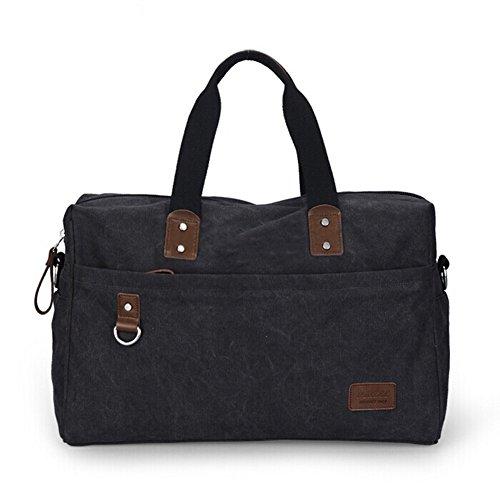 Ibagbar Large Vintage Durable Canvas Tote Luggage Weekend Duffel Bag Messenger Shoulder Bag Outdoor Sports Gym Travel Weekend...