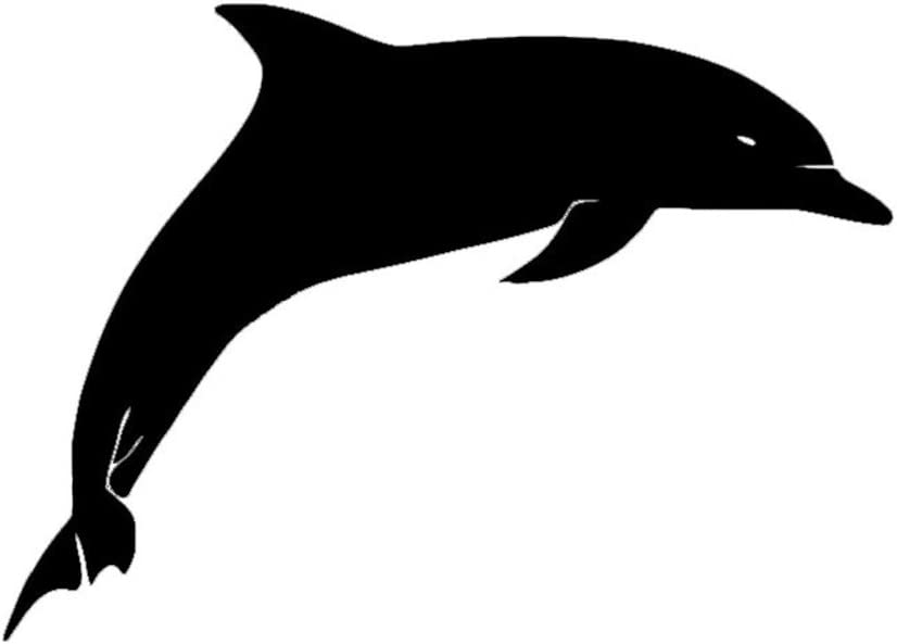 Cute Dolphin Vinyl Decal Sticker | Cars Trucks Vans Walls Laptops Cups | Black | 5.5 inches | KCD1513