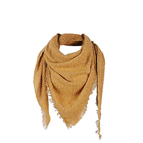 YOMXL Women Triangle Scarf Big Square Scarves Solid Color Cashmere Pashmina Tassel Shawl Winter Warm Wrap Scarf