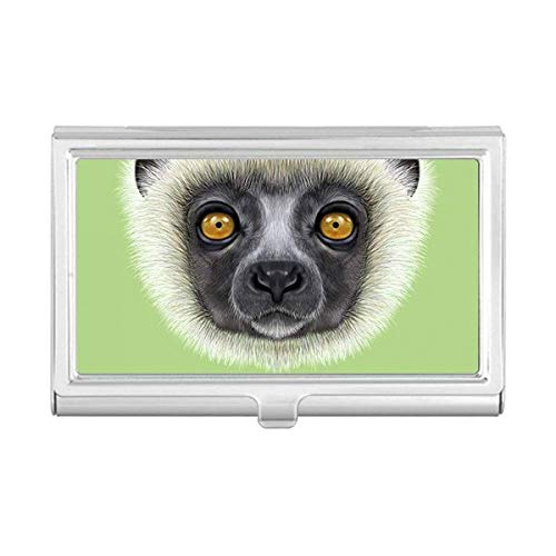 White Fluffy Sifaka Monkey Animal Business Card Holder Case Wallet