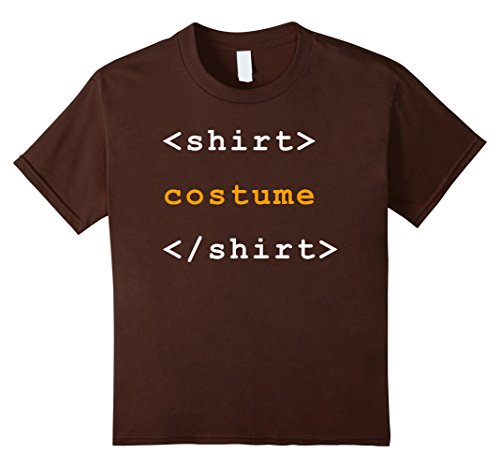 Kids HTML Tags Clever Halloween Costume Funny Tshirt 10 Brown ()