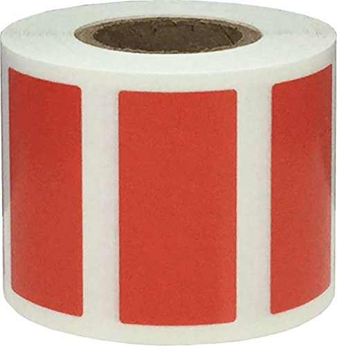 Red Rectangle Stickers, 3/4 x 1.5 Inches in Size, 500 Labels on a Roll