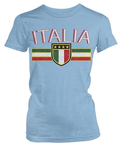 (Amdesco Junior's Italia Flag and Shield, Italy Italian Pride T-Shirt, Light Blue Medium)