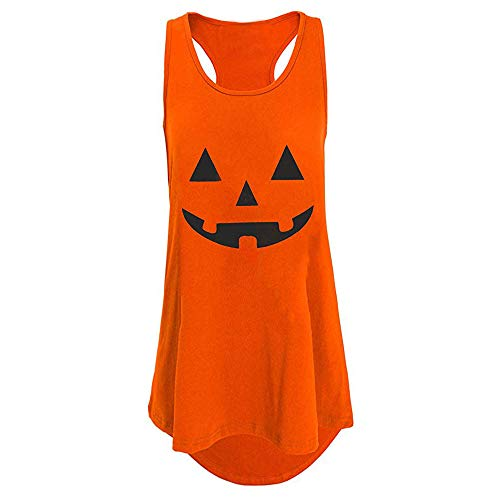 NREALY Halloween Women's Racer Back Print Tank Top Loose Sleeveless Tunic Vest Shirt(XL, -