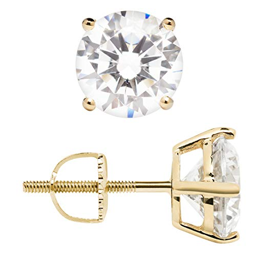 14K Solid Yellow Gold Stud Earrings | Round Cut Cubic Zirconia | Screw Back Posts | 2.56 CTW | With Gift Box