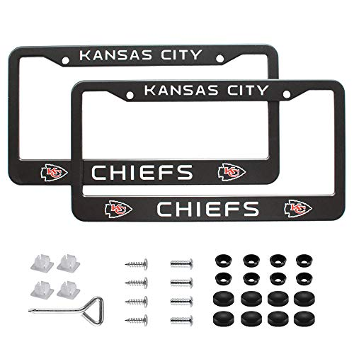 99 Carpro Auto NFL License Plate Frames, 2pcs Aluminum Alloy Cars Licence Plate Covers for Kansas City Chiefs, Matte Balck