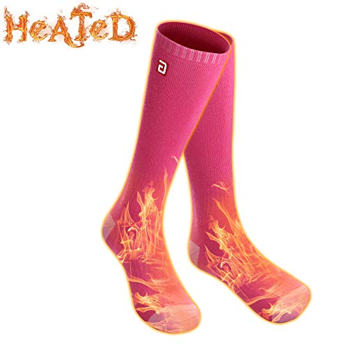 Men Women Electric Heated Socks,Rechargeable Battery Operated Heating Sox Kit,Embroidered Thermal Cotton Socks,Soft Winter Heat Insulated Stockings,Novelty Heated Sock for Sports& Outdoors(Pink,M))