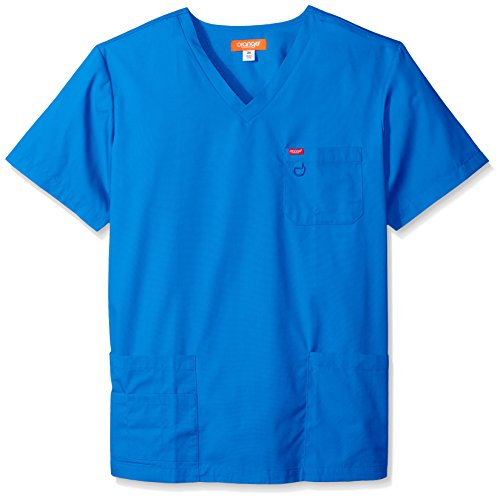 Orange Standard Mens Balboa V-Neck Unisex Big & Tall Scrub Top with Multiple Pockets and D-Ring