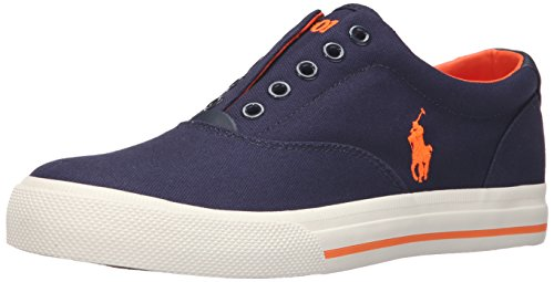 Polo Ralph Lauren Men's Vito Fashion Sneaker, Newport Navy/Blaze Rescue Orange, 12 D (Polo Shoes Vito)