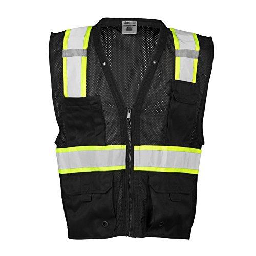 ML Kishigo Enhanced Visibility Multi Pocket Black Mesh Vest (2X/3X)
