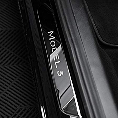 WOVELOT Battitacco Battitacco Battitacco Portiere nel Acciaio Inox Copertura Battitacco Battitacco Decorativo per Tesla Modello 3 Argento