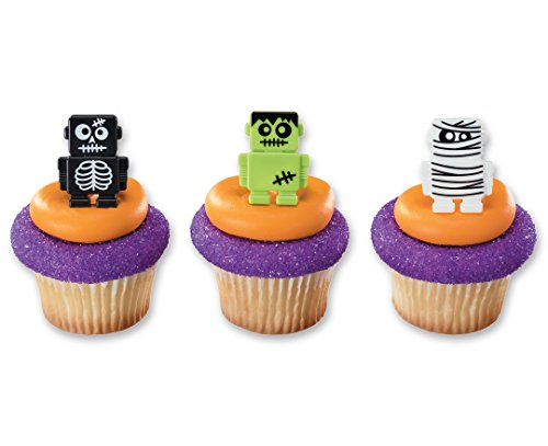 Monsterbot Robot Cupcake Rings Halloween Party Favors (24 Count)