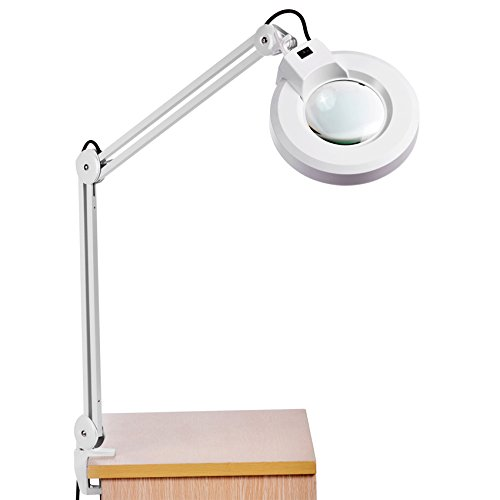 Binxin 8X Magnifying Lamp Professional 8 Diopter Adjustable MagnifIer Glass lamp with Clamp 110V [US STOCK]