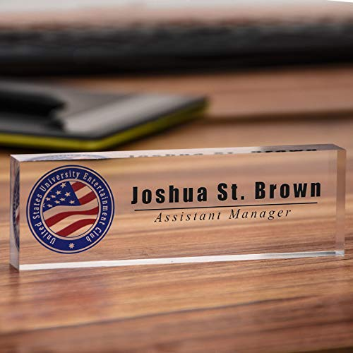 - Acrylic Desk Nameplate Office Decor Desk Bar Custom Personalized Name, Title & Logo on Clear Acrylic Block Customized Desk Plate Accessories Appreciation Gift (7''x 1.97'')