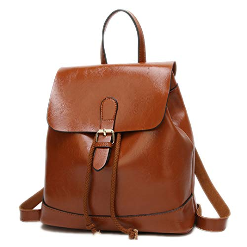 - 100% Oil Wax Leather Women Backpack Summer Autumn Female Simple Engl Travel Backpack