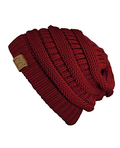 Trendy Warm Chunky Soft Stretch Cable Knit Beanie Skully ,Burgundy,One (Burgundy Cable Knit)