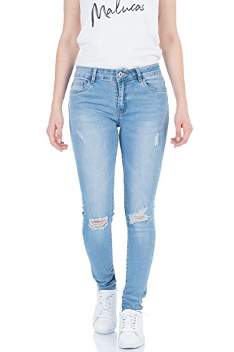 Azul malucas Vaqueros Mujer para Skinny Wwavq4vxS8