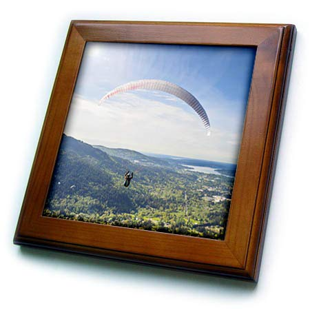 - 3dRose Danita Delimont - Paragliding - USA, Washington State. Paragliders Launch from Tiger Mountain. - 8x8 Framed Tile (ft_315159_1)