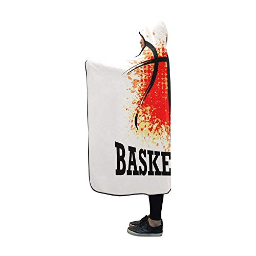Hooded Basketball (AIKENING Hooded Blanket Grunge Basketball Tshirt Poster Banner Blanket 60x50 Inch Comfotable Hooded Throw Wrap)