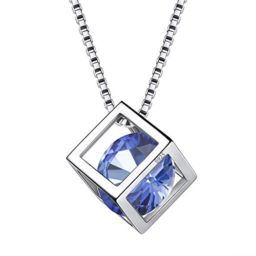 Aurora Tears June Birthstone Necklaces Women 925 Sterling Silver Crystal Birth Stone Pendant Cubic Zirconia Jun. Birthday Pendant Girls Charm Dating Jewelry -