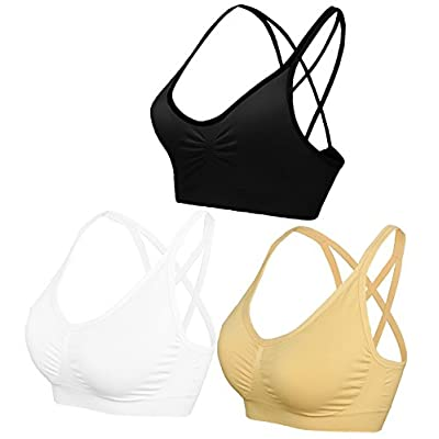 AKAMC Women's Removable Padded Sports Bras Medium Support Workout Yoga Bra 3 Pack at Women's Clothing store