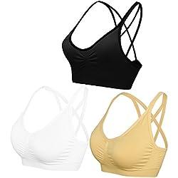 AKAMC Women's Removable Padded Sports Bras Medium Support Workout Yoga Bra 3 Pack,DD-HBB,Medium