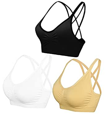 AKAMC Women's Removable Padded Sports Bras Medium Support Workout Yoga Bra 3 Pack,DD-HBB,Small