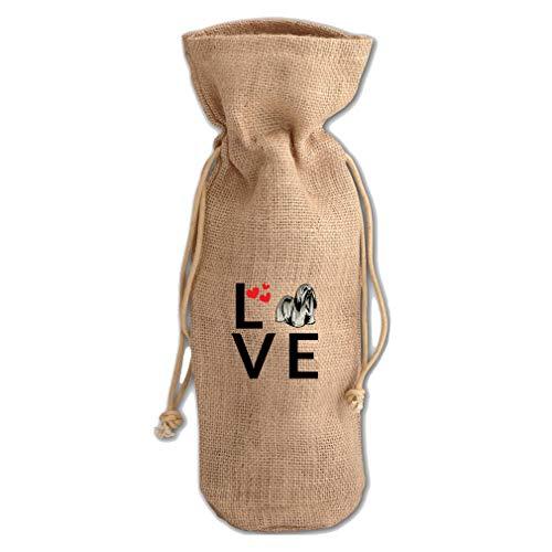 - Love Hearts Lhasa Apso Dog Jute Burlap Wine Drawstring Bag Wine Sack