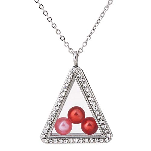 (2X Glass Locket Triangle Necklace Floating Pearl Cage Pendant Stainless Steel Chain (Silver))