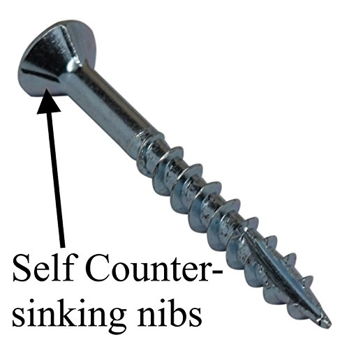 #8 x 2-1/4'' Flat Head Wood Screws - #2 Philips Drive - Countersinking Nibs - Auger Point - Deep Thread Design For Cabinets & All Interior Work - Zinc Plated - 2 Lb. Box (+- 272 pieces) by Desunia (Image #3)