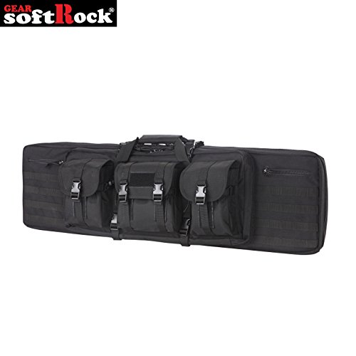 Denier Gun Cases - Softrock Gear ST-SRG-600D-42-BLK Double Rifle Case - Padded Long Gun Case & Rifle Storage Backpack Integrated Pistol Cases and Magazine Storage (Black/Plain, 42-Inch)